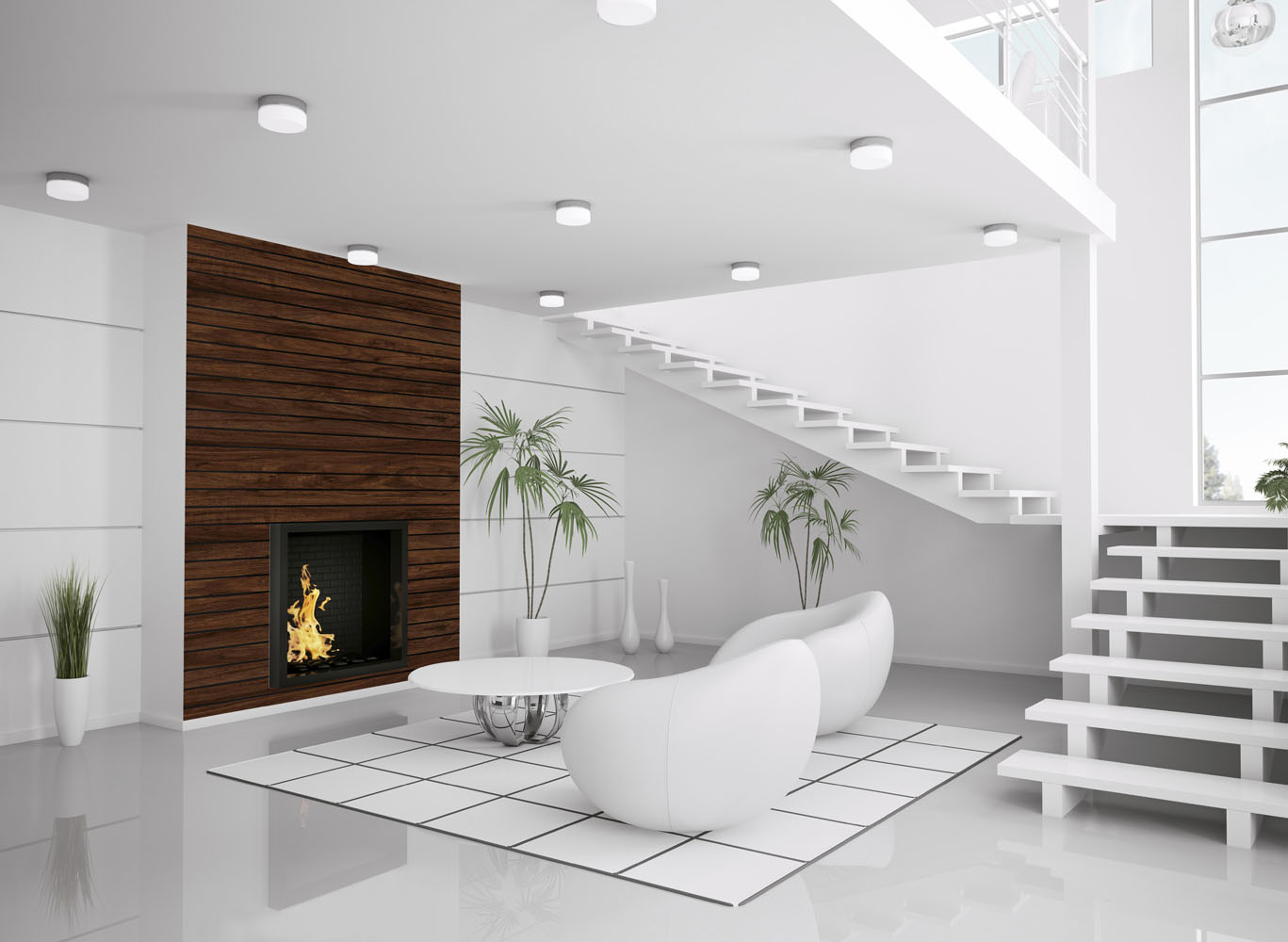 Modern white interior of living room with fireplace and staircase 3d render