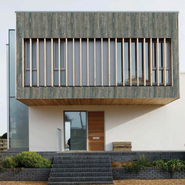 Interior Exterior Blue Wood Wooden Cladding look